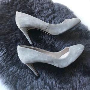 Zara Almond Toe Gray Suede Pumps size 8, 39